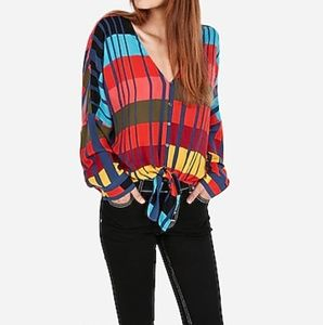 NWT Express color block tie front shirt